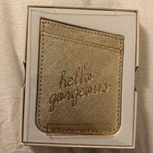 "Gold ""hello gorgeous"" sticker pocket"